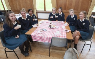 6th years enjoying coffee morning in DCW