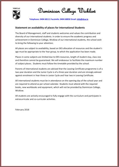 int students statement